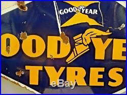 Good Year Tire Advertising Sign Vintage Porcelain Enamel Rhombus Shape Collectib