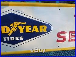 Good Year Tire Service Embossed Sign Oil Gas Station Repair Shop Vintage old