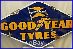 Good Year Tire Vintage Enamel Porcelain Sign Hexagon Shape Double Sided Coolecti