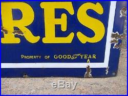 Good Year Tire Vintage Enamel Porcelain Sign Petrol Pump Display Germany Made 2