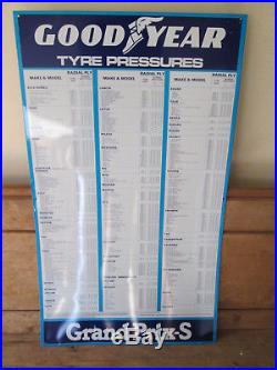 Goodyear tyre pressures sign. Michelin. Dunlop. Vintage sign. Tyre sign