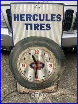 HERCULES TIRES DEALER SIGN CLOCK Working Vintage