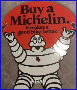 Huge 24 X 15 1/2 Vintage Michelin Tires Diecut Bibendum Man Porcelain Sign