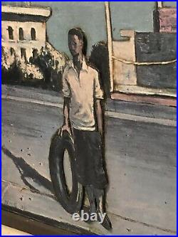 Hughie Lee-Smith 1952 Boy With The Tire 3D Framed Art Signed On Left Side NM5 3D