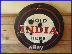 India tyres enamel sign. Vintage sign. Tyre sign. Michelin. Dunlop. Goodyear