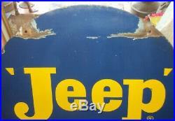 Jeep Motor Vehicle 1940 OLD VINTAGE PORCELAIN ENAMEL SIGN EXTREMLY RARE