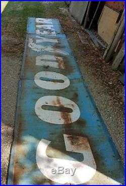 LARGE Goodyear Tires Dealership SIGN Vintage 24' 3pc. Paint Blue Barn Decor IOWA
