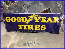 LARGE VinTagE 8' GOODYEAR w Winged Foot Tire Sign PORCELAIN Gas Oil Car Truck