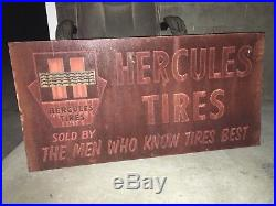 LQQK! VinTaGe HERCULES TIRE DISPLAY Stand SIGN Gas Oil Service Station OLD Car