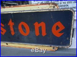 Large 71 X 24 Vintage 1940s Firestone Tires Gas Station Metal Sign Gas Oil