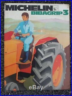Large Rare Original Vintage Michelin Tractor Tyre Enamel Advertising Sign