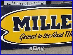 Large VinTagE Original MILLER TIRE SIGN SST Gas Oil Mancave Auto Car Truck OLD