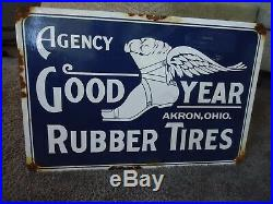 Large Vintage 1917 Goodyear Rubber Tires Porcelain Metal Sign! Akron, Ohio