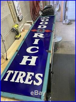 Large Vintage 1930's Goodrich Tires Gas Station 78 Porcelain Sign Ingrich