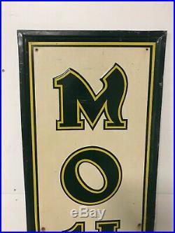 Large Vintage 1940s Vertical Mohawk Tires Gas Station 70 Embossed Metal Sign