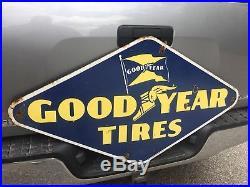 Large Vintage 1949 Goodyear Tires Tire Gas Station Oil Porcelain Metal Sign