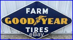 Large Vintage 1950's Goodyear Farm Tires Tractor 6ft Porcelain Metal Sign