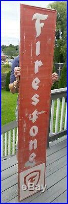 Large Vintage 1957 Firestone Tires Gas Station Oil 72 Embossed Metal Sign