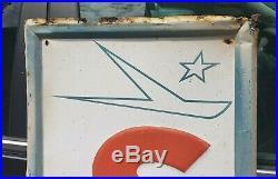 Large Vintage 1960's Sonic Tires Gas Station Oil 59 Embossed Metal Sign