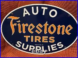 Large Vintage 53''firestone Tires'' Porcelain Dealer Sign 16.5x11 Inch