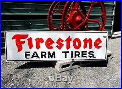 Large Vintage Antique Wood FIRESTONE FARM Truck Tractor Gas Oil TIRE Sign