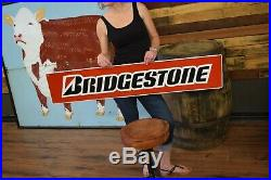 Large Vintage Bridgestone Tires Gas Station 48 Embossed Metal Sign clean nice
