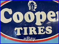 Large Vintage Cooper Tires Gas Station Tire 45 Embossed Metal Sign