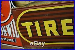 Large Vintage Dayton Tires Thoroughbred Tire Gas Station 6ft Tin Metal Sign RARE