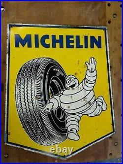 Large Vintage Michelin advertising sign yellow
