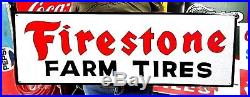 Large Vintage Painted Metal FIRESTONE FARM TIRES Tractor Truck Gas Oil 36 Sign