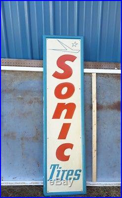 Large Vintage Sonic Tires Gas Station Oil 59 Embossed Metal SignNice