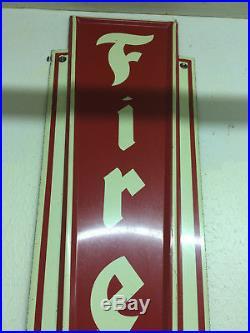 Large Vintage c. 1960 Firestone Tires Gas Station Oil 72 Embossed Metal Sign VGC