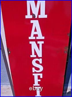 Large original vintage porcelain MANSFIELD tires sign with man holding up a tire