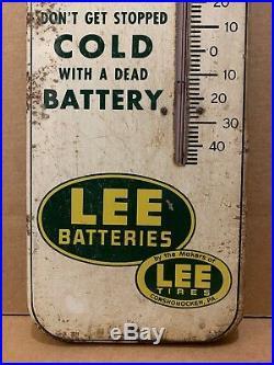 Lee Batteries Thermometer Metal Vintage Sign Gas Oil Garage Conshohocken PA Tire