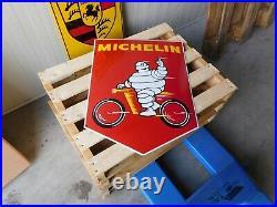 MICHELIN Motorcycle Tyres Gas & Oil Garage Porcelain Enamel Vintage Dealer Sign