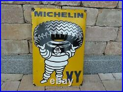 MICHELIN porcelain sign 24 convex advertising vintage oil gas tires US XY tire
