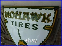 MOHWAK TIRES 20 porcelain sign advertising vintage gasoline oil old gas tyre