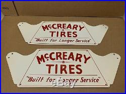 McCreary Tires Stand Sign Vintage Metal Garage Shop Decor Gas Oil Man Cave NOS