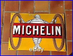 Michelin Man Tires Sign Yellow Raised Arched metal sign France Vintage 27031734