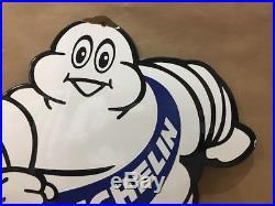 Michelin Man Vintage Porcelain Sign Tire Coupe Mobil Motor Gasoline Pump Gas