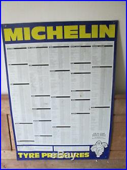 Michelin tyres pressures sign. Goodyear. Dunlop. Vintage sign. Tyre sign