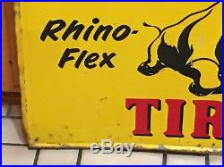ORIGINAL 1950 VinTagE ARMSTRONG TIRE RHINO Sign Gas Oil Station OLD Car PATINA