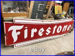 ORIGINAL Antique BIG Vintage 9' FIRESTONE Bowtie Tire Sign Car Truck OLD Gas Oil