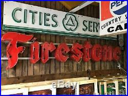 ORIGINAL Antique LARGE Vintage PORCELAIN Neon FIRESTONE Tire Sign Car Truck OLD