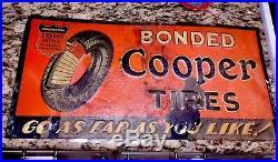 ORIGINAL VINTAGE 1930 40s COOPER TIRES METAL ADVERTISING SIGN GAS OIL EMBOSSED
