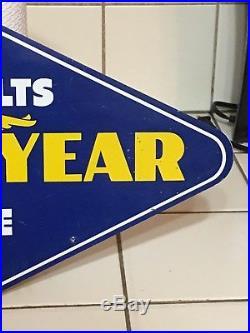 ORIGINAL VinTaGe GOODYEAR FAN BELTS & HOSES Tire Sign GaS OiL Shop Car Parts OLD