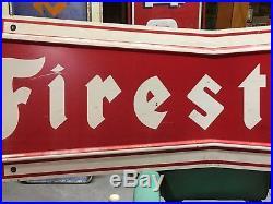 ORIGINAL VinTagE FIRESTONE Tire Sign BOWTIE Mancave Gas Oil OLD Garage ManCave