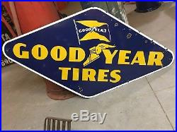 ORIGINAL VinTagE GOODYEAR Tire Sign PORCELAIN Mancave Gas Oil OLD Garage ManCave