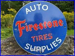 Old 1950's Vintage Firestone Tires Porcelain Metal Gas Pump Sign! Tire Service