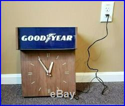Old Vintage 1960s 1970s Lighted Goodyear Tire Dealer Wall Clock Sign Advertising